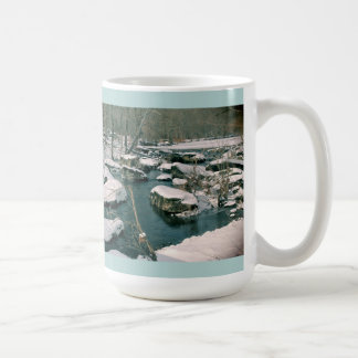 Snowy Winter Creek Rocks Mug
