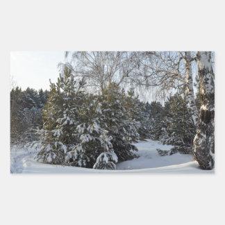 Snowy Winter Day Rectangular Sticker