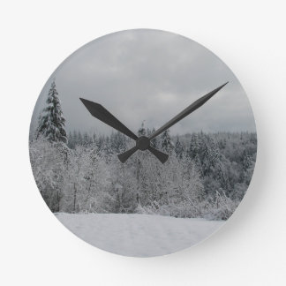 Snowy Winter Day Round Clock