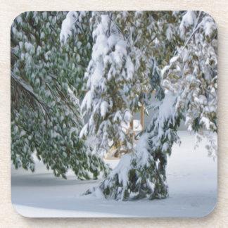 Snowy winter drink coaster