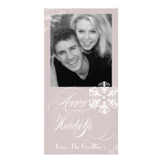 Snowy Winter Dusty Rose Holiday Photo Card