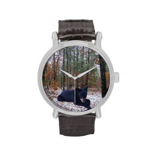 Snowy Winter Forest Hunting Scene with Bear Cub Wrist Watches