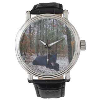 Snowy Winter Forest Hunting Scene with Bear Cub Wristwatch
