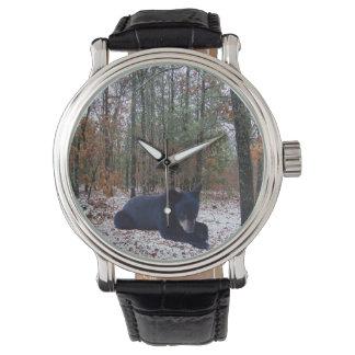 Snowy Winter Forest Hunting Scene with Bear Cub Wristwatch