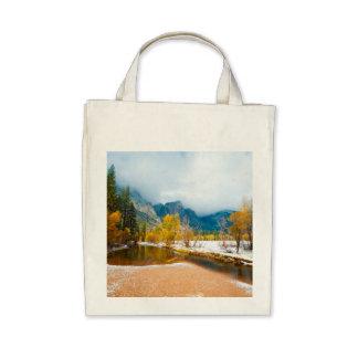 Snowy winter landscape canvas bags