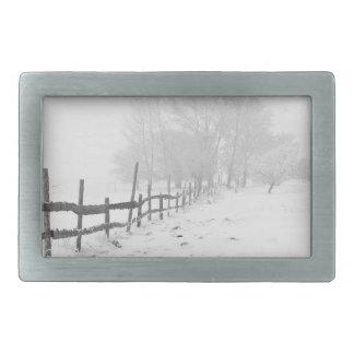 Snowy Winter Landscape Photography Belt Buckles