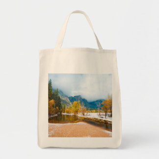 Snowy winter landscape grocery tote bag
