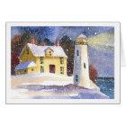 Snowy Winter Lighthouse Card