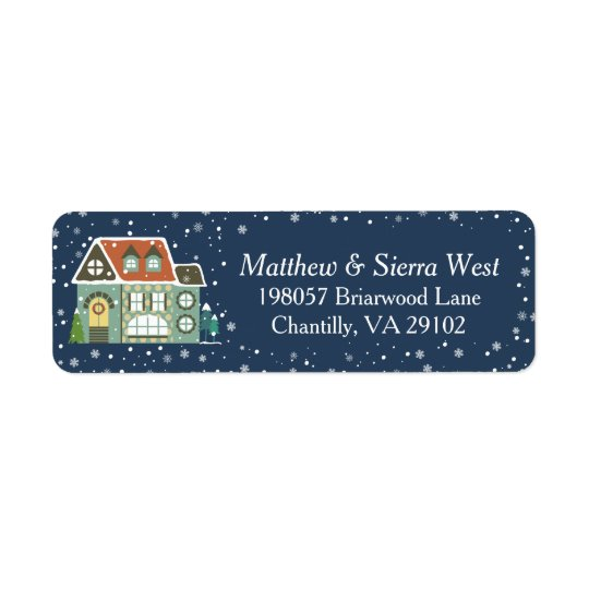Snowy Winter Night Christmas Holiday Home Return Address Label