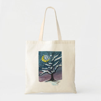 Snowy Winter Night Tree Bag