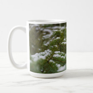 Snowy Winter Pine Tree Basic White Mug