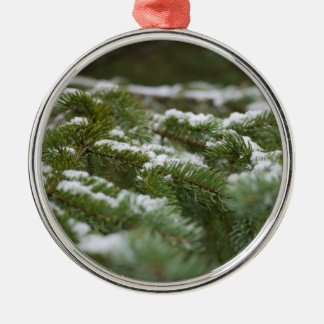 Snowy Winter Pine Tree Silver-Colored Round Decoration
