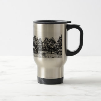 Snowy Winter Pine Trees In Black and White Mugs