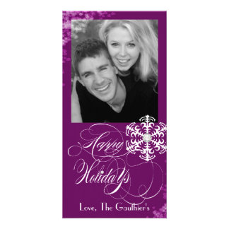 Snowy Winter Plum Holiday Photo Card