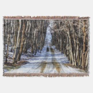 Snowy Winter Road Afghan Throw Blanket
