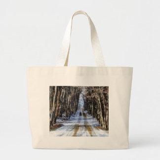 Snowy Winter Road Canvas Bag
