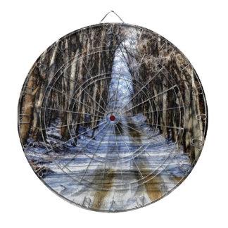 Snowy Winter Road Dartboard With Darts