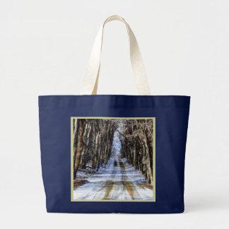Snowy Winter Road Navy Blue Tote Bag