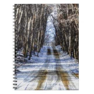 Snowy Winter Road Spiral Note Book