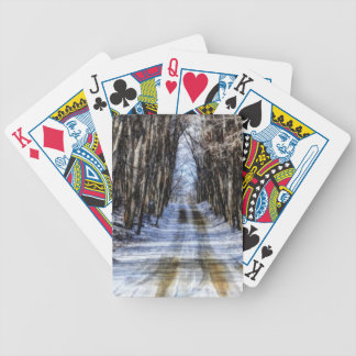 Snowy Winter Road Playing Cards