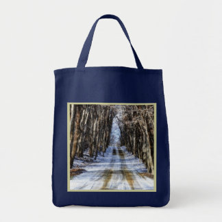 Snowy Winter Road Reusable Navy Blue Grocery Tote Bag