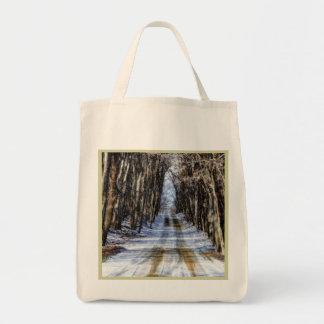 Snowy Winter Road Reusable Bag