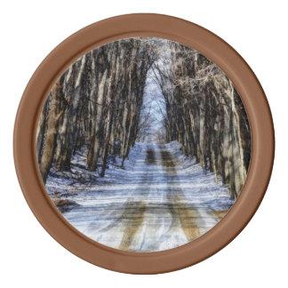 Snowy Winter Road Set Of Poker Chips