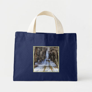 Snowy Winter Road Small Navy Blue Mini Tote Bag