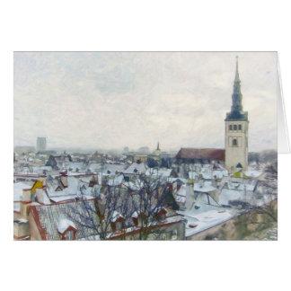 Snowy Winter Rooftops in Tallinn, Estonia Card
