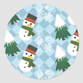 Snowy winter scene round sticker