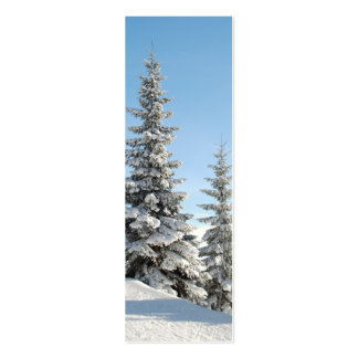 Snowy Winter Scene with Christmas Trees Business Card Template