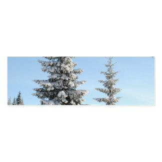 Snowy Winter Scene with Christmas Trees Business Card Templates