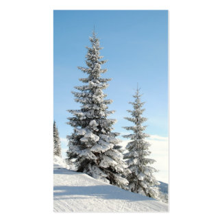 Snowy Winter Scene with Christmas Trees Business Cards