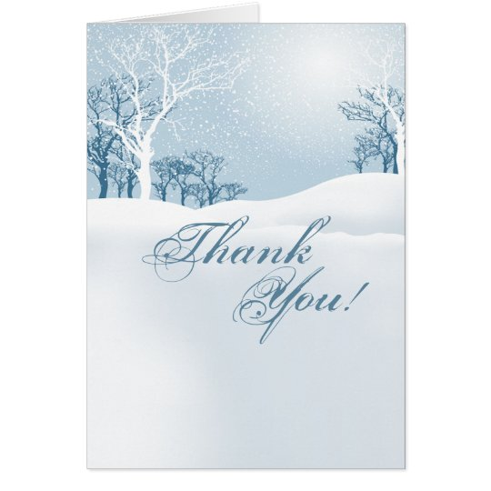 Snowy Winter Thank You - ice blue Card