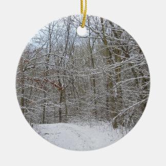 snowy winter trail round ceramic decoration