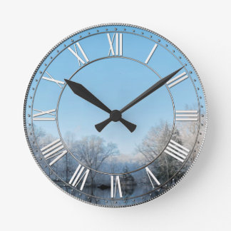 Snowy Winter Tree Lake Reflections Clock