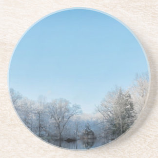 Snowy Winter Tree Lake Reflections Drink Coaster