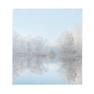 Snowy Winter Tree Lake Reflections Memo Notepad