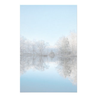 Snowy Winter Tree Lake Reflections Personalized Stationery