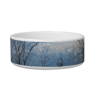 Snowy Winter Tree Lake Reflections Pet Food Bowl
