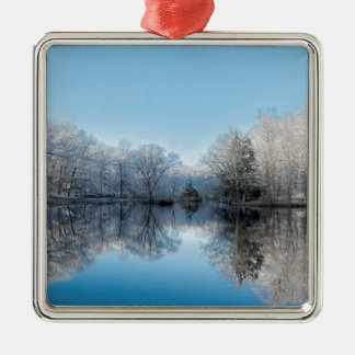 Snowy Winter Tree Lake Reflections Silver-Colored Square Decoration