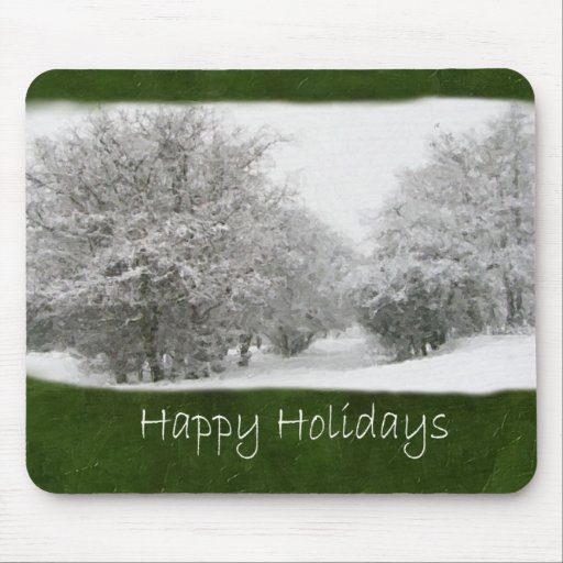 Snowy Winter Trees and Shrubs - Happy Holidays Mousepad