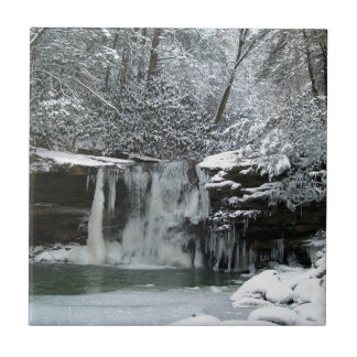 Snowy Winter Waterfall Small Square Tile