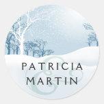Snowy Winter Wedding - ice blue Round Stickers
