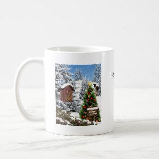 Snowy Winter Woodland Scene Mugs