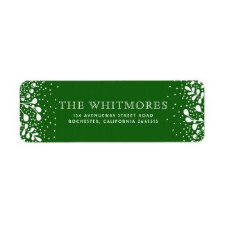 Snowy Wonderland Green Christmas Return Address Label