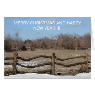 Snowy Wooden Fence Christmas CARD