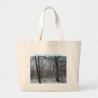 Snowy Woods, Warm Winter Wishes Tote Bags