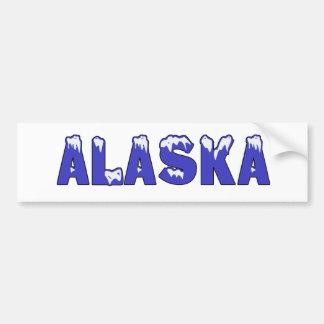 SNOWY WORD ALASKA BUMPER STICKER