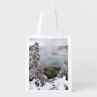 Snowy Yellowstone Reusable Grocery Bag